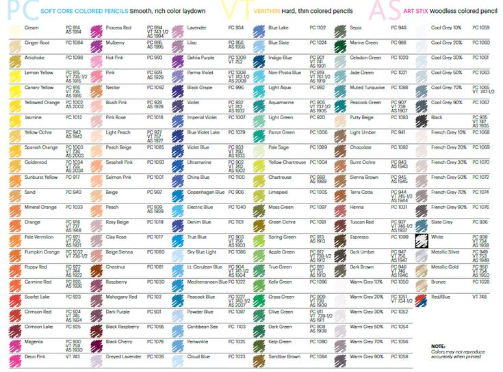color chart of all available prismacolorverithinart stix colored pencils - Color Code Book