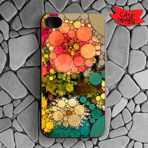 Pattern Round Full Color iPhone 4 iPhone 4S Black Case