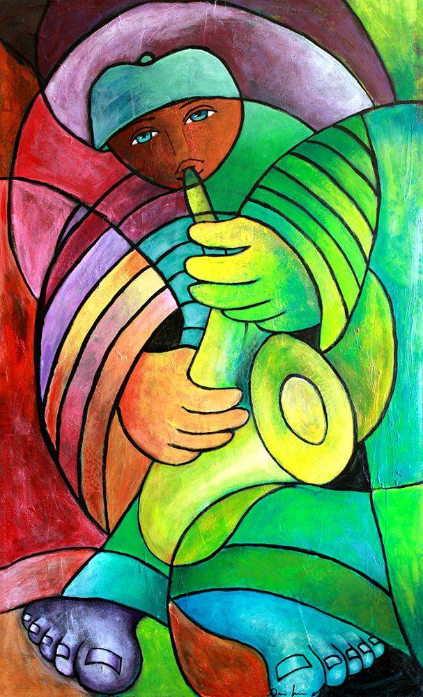 saxofonista-quadro-figurativo.jpg (607×1000)