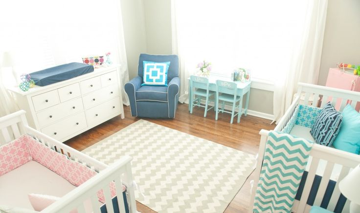 Boy/Girl Twins Nursery - can't get enough of the blue desk with monogram chairs! #nursery