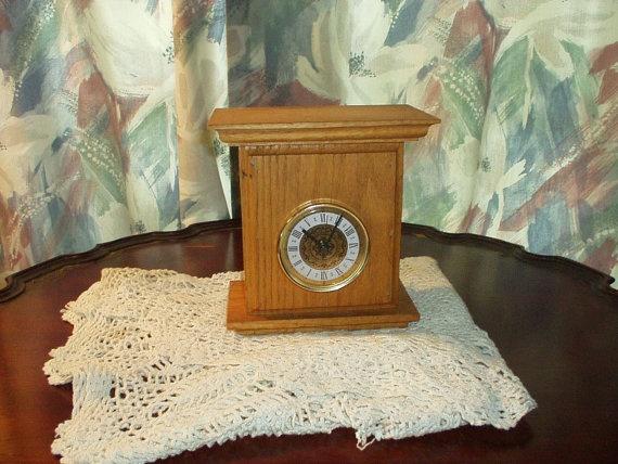 Vintage HomeMade Oak Mantel Clock  Estate  Good by PatseoThings, $12.99