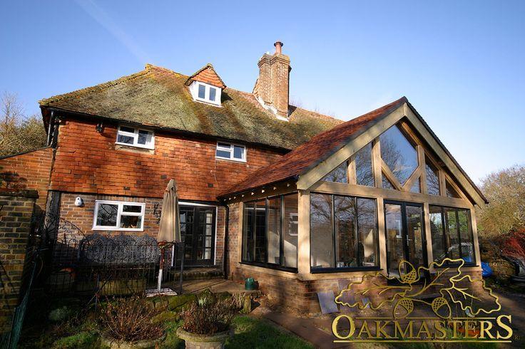 Oak garden room with wonderful glazed gable truss.