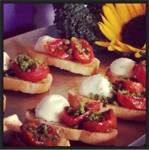 Caprese Bruschetta with crystalized basil, roasted tomato and fresh mozzarella