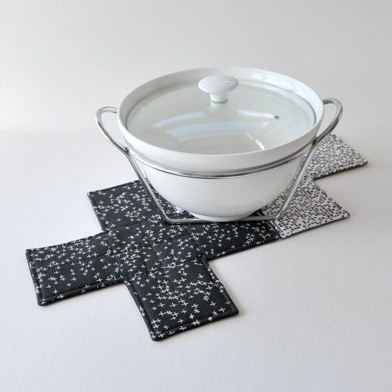Quilted cross trivet. Fabric cross potholder. Black by EdgeEffects