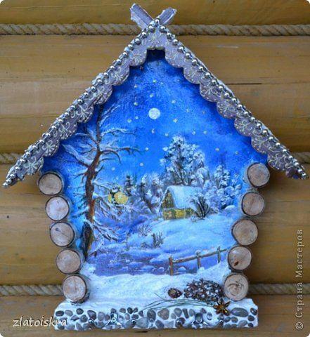 Декор предметов Поделка изделие Новый год Декупаж Коллаж Ключницы панно и колодец Материал природный фото 1