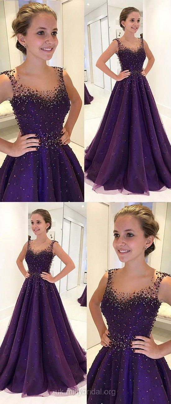 Purple Prom Dresses, Long Prom Dresses, 2018 Prom Dresses For Teens, Ball Gown Prom Dresses Tulle, Scoop Neck Prom Dresses Beading #purpledresses