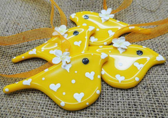 Fused glass yellow hanging bird. Decorative home garden decor