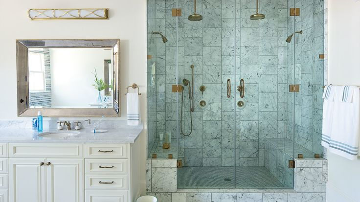 Luxurious Shower | Bayou Bend, our quaint coastal cottage in Covington, Louisiana, is rooted in the architectural traditions of the Deep South, but its open floor plan and vibrant interiors are fit for the modern family. Step inside to see our favorite ideas.