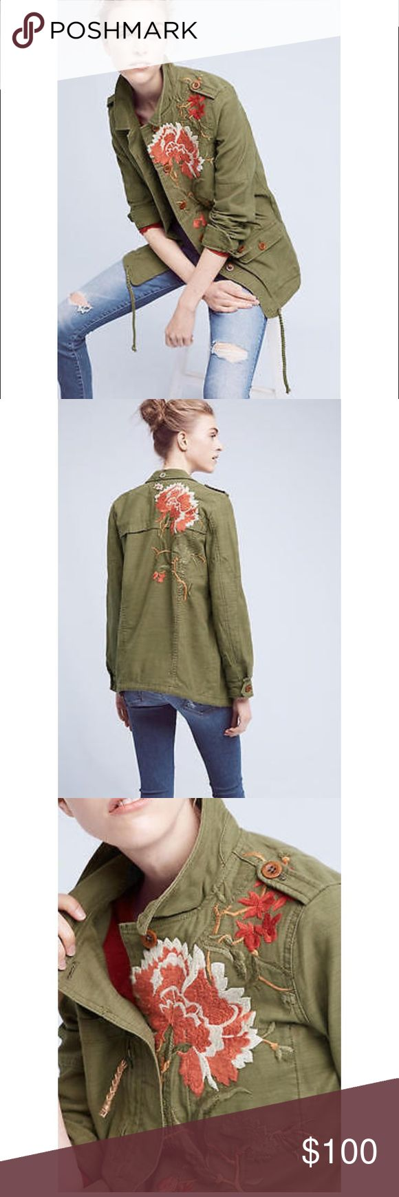 Anthropologie Embroidered Field Jacket  By Hei Hei This jacket has amazing reviews and was sold out instantly... I love unique pieces, and I love when nobody else has them.., today I saw 3 people wearing this jacket, I guess it is pretty popular in San Francisco... and I decided to sell it. I wore it maybe twice. It's like new, perfect condition. Price firm, no trades.  o   Embroidery detail o   Front pockets o   Button front o   Machine wash o   Cotton ·         Dimensions  ·…