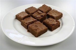 Brownies. Good brownie recipe. Hint: leave small chocolate pieces in it as well for extra points. (Recipe in Danish)