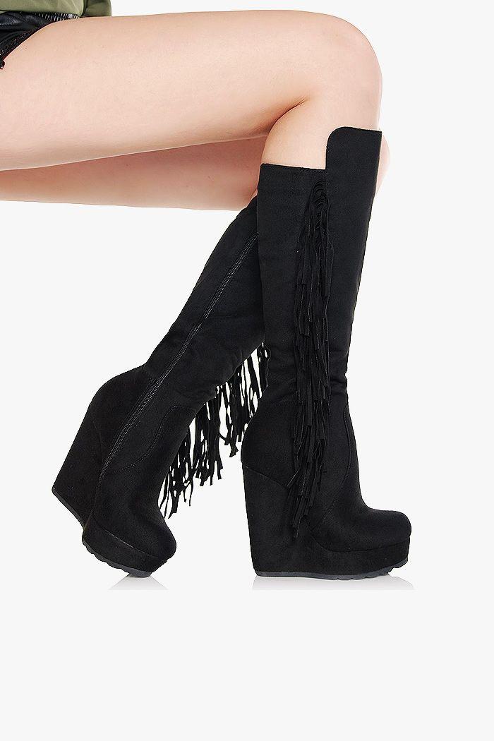 Kozaki Czarne Zamszowe Koturny Fredzle Boots Shoes Fashion