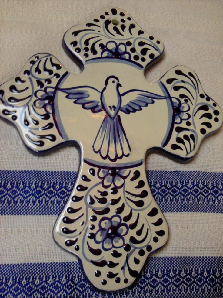Talavera Pottery Ceramic Cross Blue Dove