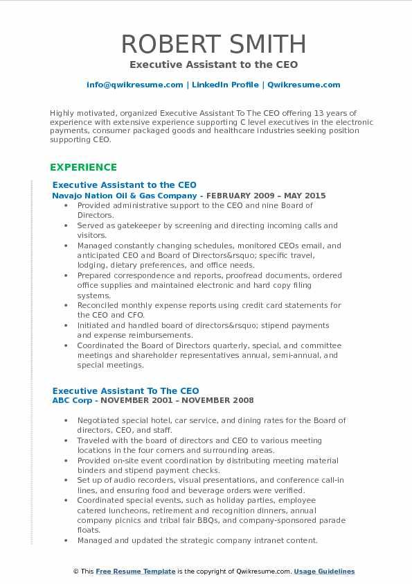 Executive Assistant To The Ceo Resume Format Executive Assistant Administrative Assistant Resume Executive Administrative Assistant
