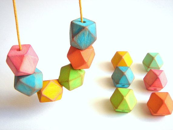 Neon Geometric Faceted Wood Beads,Hand Painted Wood beads, Geometric Jewelry,Do it Yourself Geometric necklace