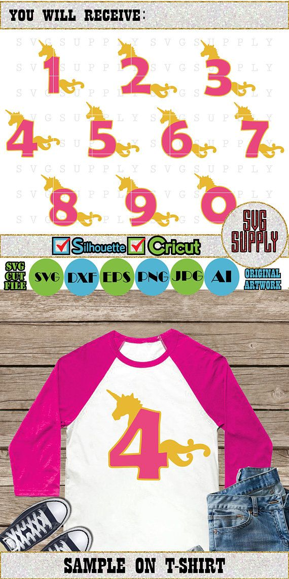 Unicorn Numbers SVG, Birthday Unicorn svg cut file vinyl