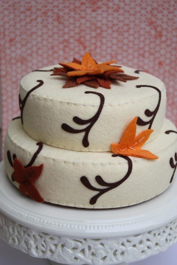 Felt Autumn Rust and Orange Leaf Vanilla Cake by ViviansKitchen