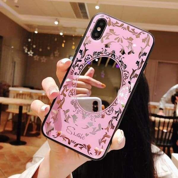 Luxury Pink Black Flower Mirror Tempered Glass Iphone Case Case Cover Luxury Phoneca Tempered Glass Iphone Marble Phone Case Iphone Iphone Transparent Case