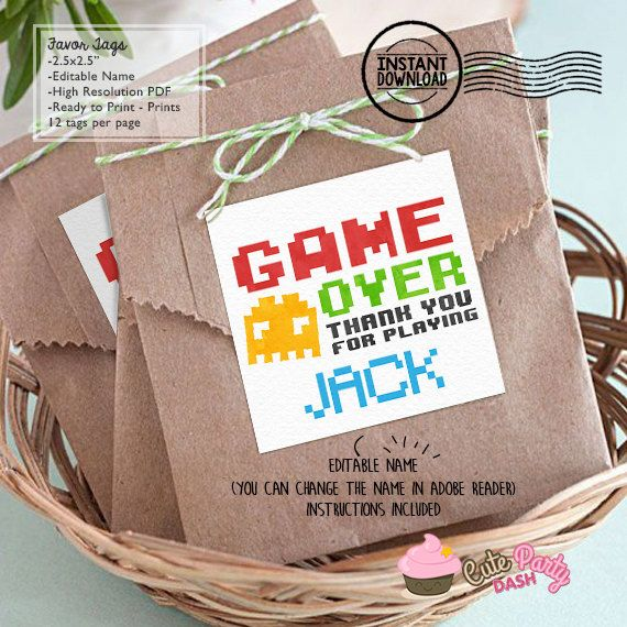 INSTANT DOWNLOAD  EDITABLE Video Game Favor Tag by CutePartyDash