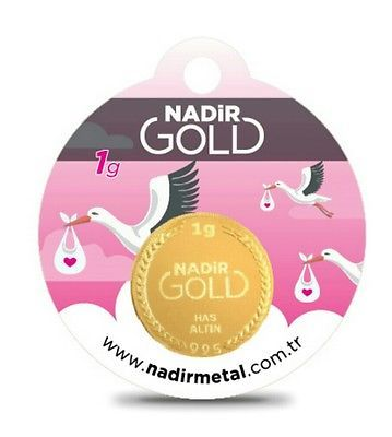 Golden gift for baby girl 1 gram fine gold bar  0,995 Nadir Gold Refinery
