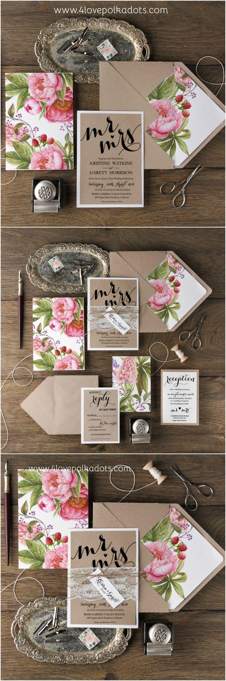 Summer wedding invitations 4lovepolkadots weddinginvitations peonywedding