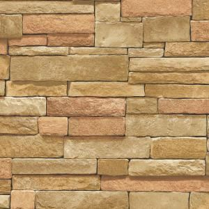 The Wallpaper Company 56 sq. ft. Multi Color Ledge Stone Wallpaper-WC1281980 at The Home Depot