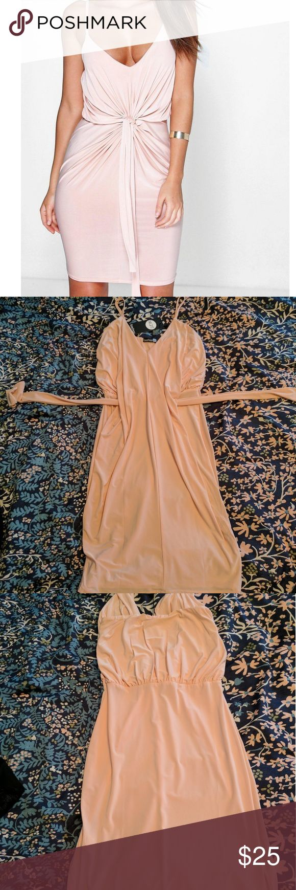 Blush Pink Bodycon Dress Davisa Slinky Knot Detail Bodycon Dress - Brand New, Never Used, tags are still attached. Blush pink color. Boohoo Dresses