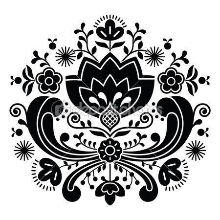 Norueguês folk art bunad preto padrão - rosemaling bordado de estilo — Ilustração vetorial #53017855