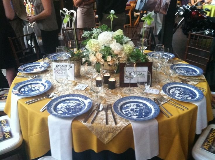 Table Of Mustard And Navy Featuring Blue Willow China