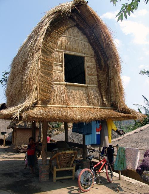 Rice House in Lombok Island, the West Nusa Tenggara province of Indonesia.  In Sasaknese we call it Lumbung, the island's inhabitants are 85% Sasak tribe