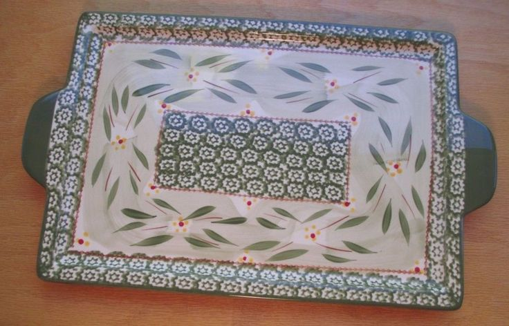 temp-tations Presentable Ovenware by Tara Old World Green Serving Tray W/Handles