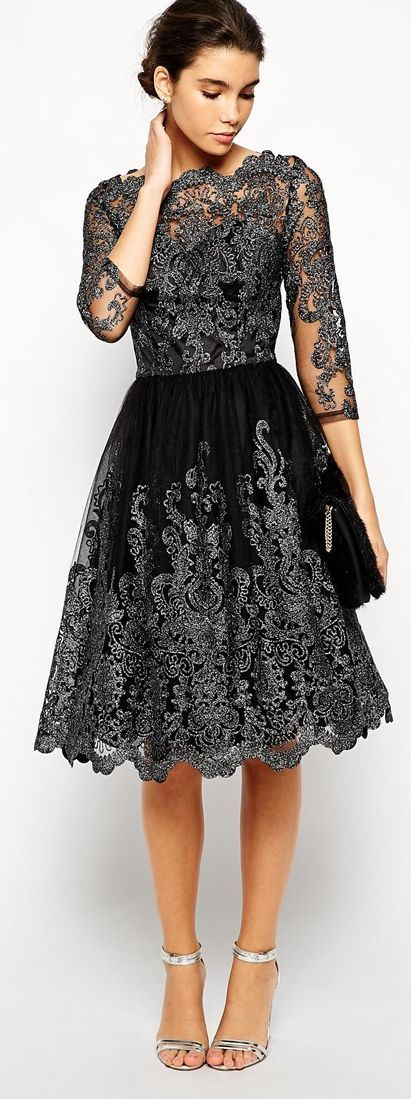 Chi Chi London Metallic Lace Midi Prom Dress