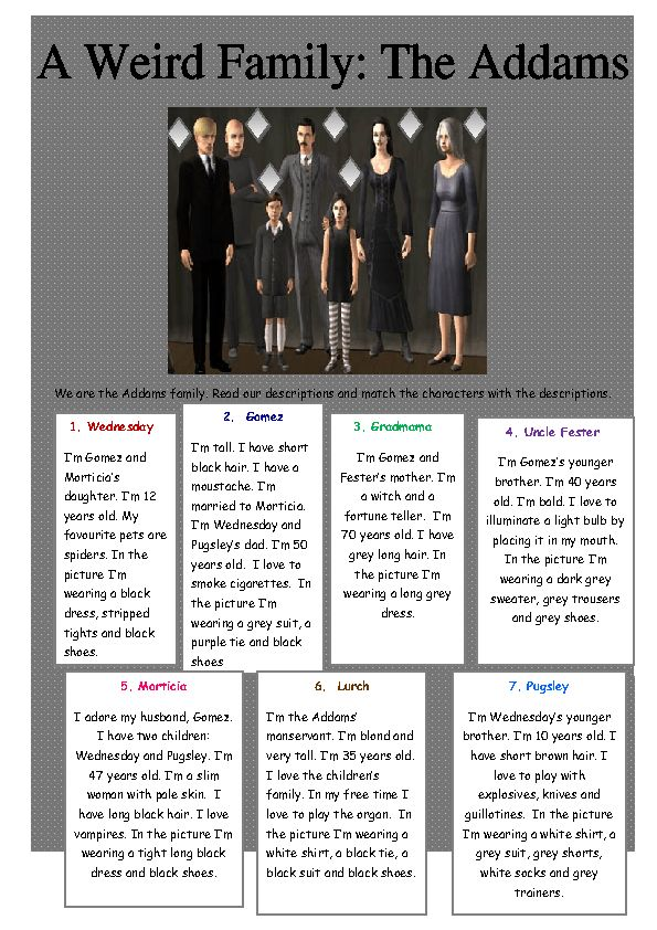 Addams Family | family vocab and descriptions practice