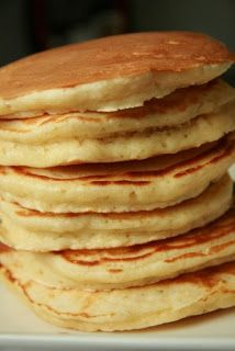 Alton Brown Buttermilk Pancakes.  These did indeed come out light and fluffy.  Very good recipe.