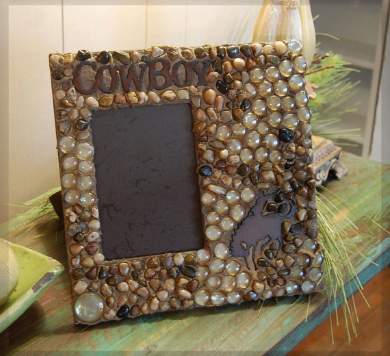 Cowboy picture frame western picture frame glass by CrossFrenzy, $35.00