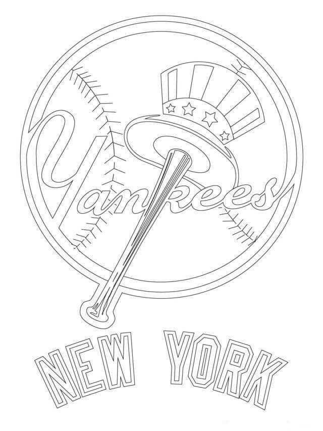Major League Baseball Mlb Coloring Pages In 2020 New York Yankees Logo Baseball Coloring Pages Yankees Logo