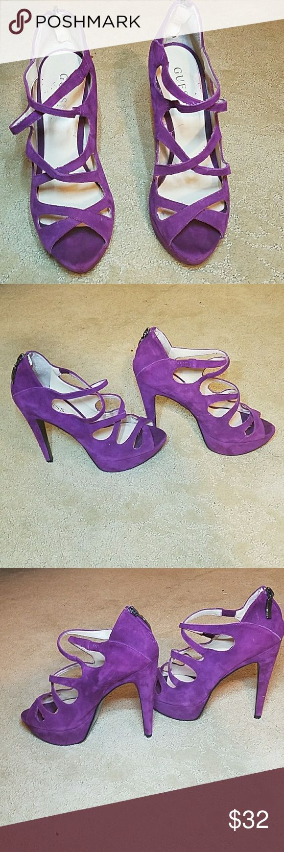 Guess Heals purple strappy heals  comfortable to wear only used at two events only suede material  guess brand Guess Shoes Heels