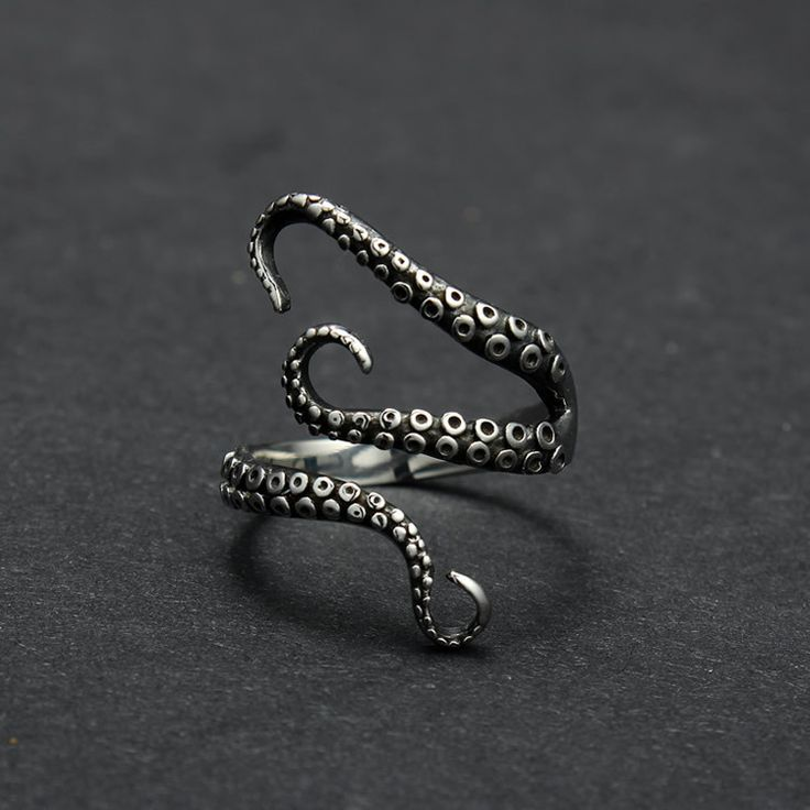Free Shipping cool top quality Titanium steel Gothic Deep sea squid Octopus finger ring fashion jewelry opened Adjustable size