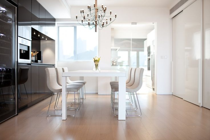 [Apartments] : Elegant Design Idea For Beautiful Dining Room Contemporary Apartment With Modern Design Interior And Fancy Appliances Completed With Modern Mini Bar Beautiful Pendant Lamp White Wooden Table Chair Full Laminate Flooring