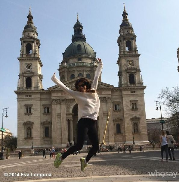 Eva Longoria, star of Desperate Housewives  in pictured jumping for joy here in front of St.Stephen's Basilica, Budapest, Hungary