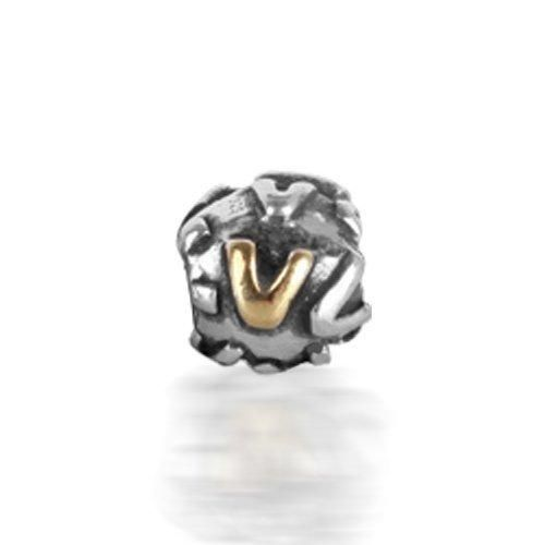 Bling Jewelry 925 Sterling Silver Letter V Alphabet Bead Screw Core Fits Pandora