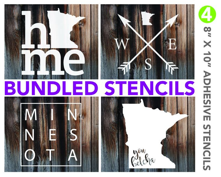 Excited to share the latest addition to my #etsy shop: Minnesota - DIY Adhesive Stencil Bundle - 4 Stencil Set http://etsy.me/2HH4AhD #supplies #cardmakingstationery #paintmask #adhesivestencils #minnesota #palletsigns #rusticdecor #custommirrors #adhesivevinyl