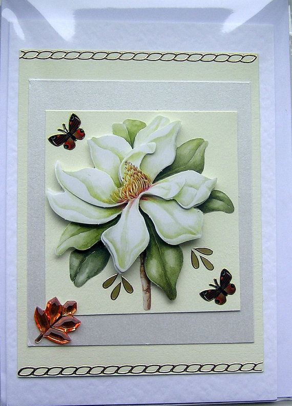 White Rose HandCrafted 3D Decoupage Card Blank by SunnyCrystals, $3.55