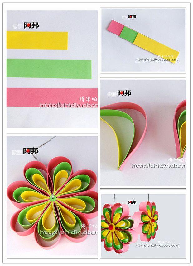 fleur avec des bandes de papier