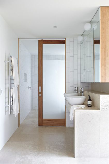 Contemporary Bathroom by Austral Masonry - Timber frosted glass door