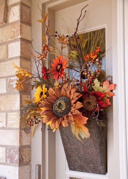 Gorgeous fall floral door decor