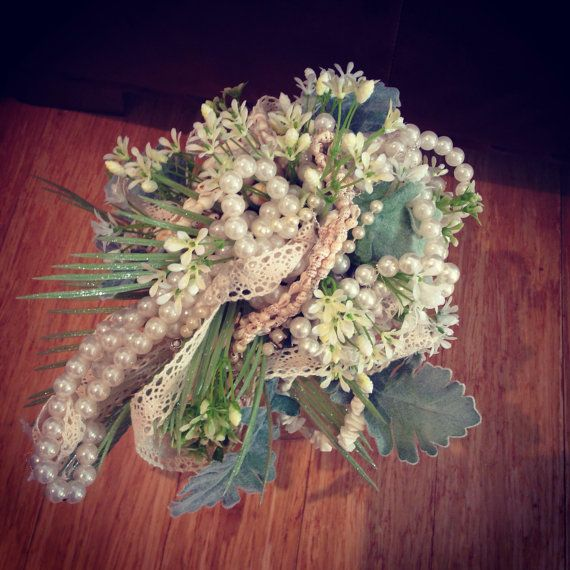 Pearl bridal bouquet with coral and seashells for beach or boho wedding.Lace and cream hessian ribbon ,everlasting beachy flowers indie look on Etsy, $185.00 AUD