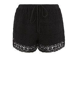 Black Crochet Shorts    New Look