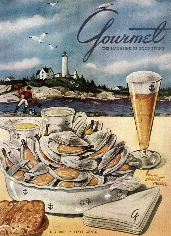 July 1955  ~  Gourmet Magazine Cover ~  Clams Pilsner Beer (Maine)