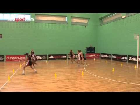 Netball Drill: Three On Three Defending Working in a small area of the court, this drill enables players to develop essential defending skills. Working as a team to restrict the attackers' movement and break down play. Also a fantastic drill for attackers to practice getting free for the ball in a small space.