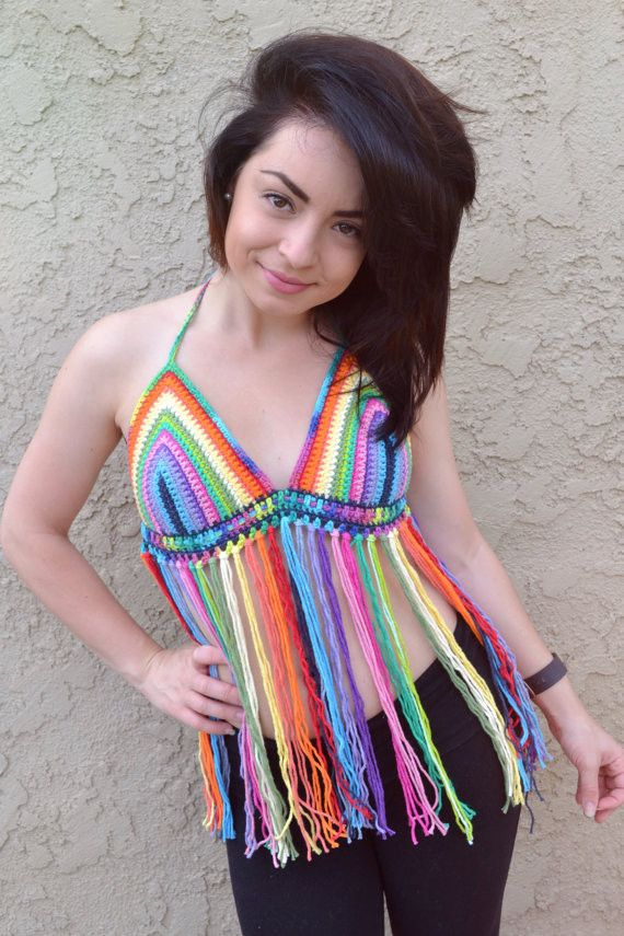 This awesome crochet rainbow halter top is a must-have this summer season. The perfect outfit for festivals, raves, parties, beach or everyday wear. Pair it with shorts, jeans, or bikini bottoms, and